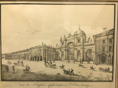 Vue de l'Eglise Catholique, a St. Petersbourg. Санкт-Петербург. 1827.