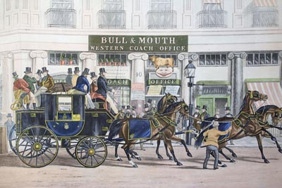 After William Shayer. The Duke of Beaufort Coach starting from the Bull & Mouth, Regents Circus, Piccadilly. London, 1841.