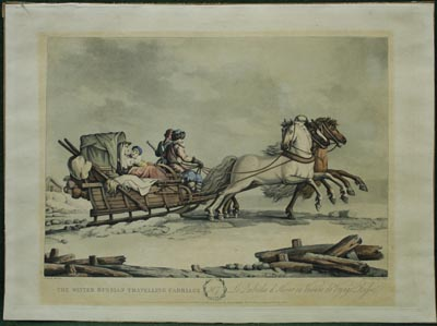 Русский экипаж для зимних путешествий. The winter Russian traveling carriage. Le kibitka d'hiver ou voiture de voyage Russe. После 1827 года.